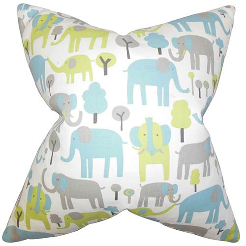 Carleton Blue 18 x 18 Animal Print Throw Pillow