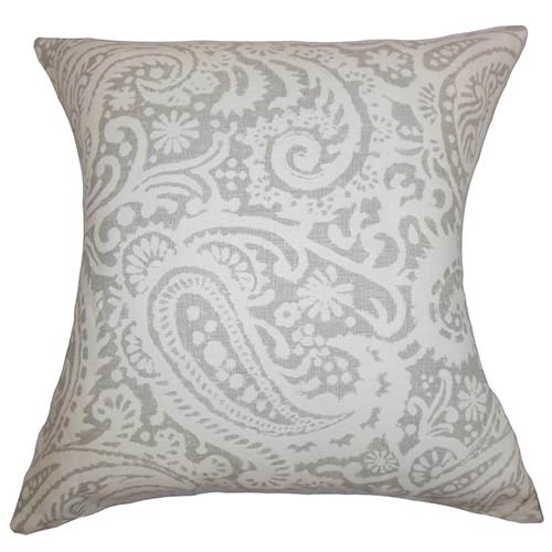 The Pillow Collection Nellary Silver Gray 18 x 18 Paisley Throw Pillow