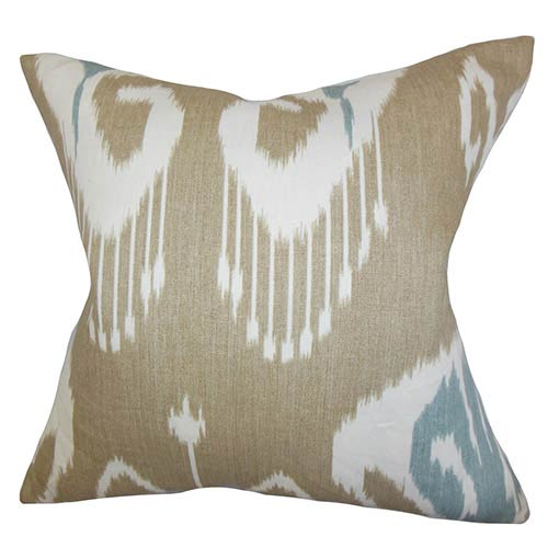 The Pillow Collection Cleon Neutral 18 x 18 Ikat Throw Pillow
