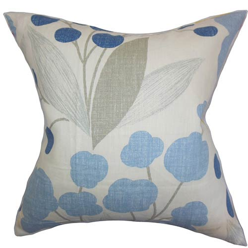 The Pillow Collection Geneen Blue 18 x 18 Floral Throw Pillow