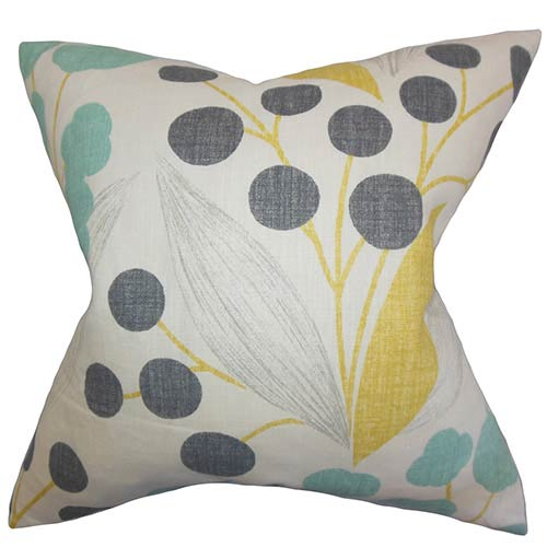 The Pillow Collection Geneen Yellow 18 x 18 Floral Throw Pillow