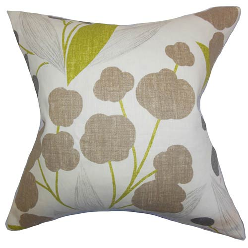 The Pillow Collection Geneen Green 18 x 18 Floral Throw Pillow