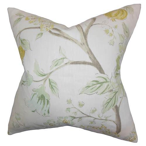 The Pillow Collection Ivria Green 18 x 18 Floral Throw Pillow