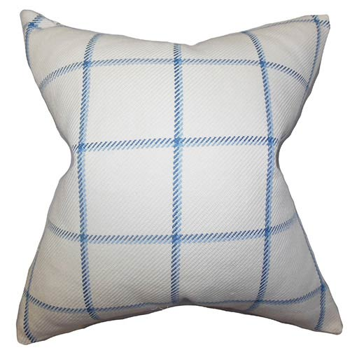 The Pillow Collection Wilmie Blue 18 x 18 Plaid Throw Pillow