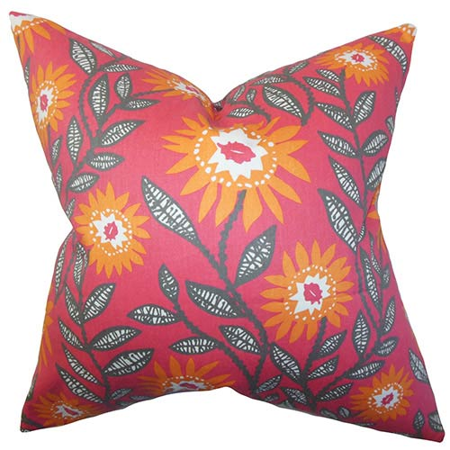 The Pillow Collection Leena Pink and Orange 18 x 18 Floral Throw Pillow