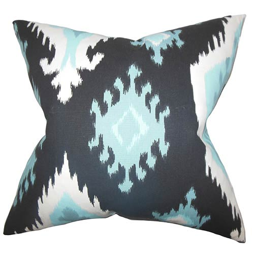 The Pillow Collection Djuna Blue 18 x 18 Ikat Throw Pillow