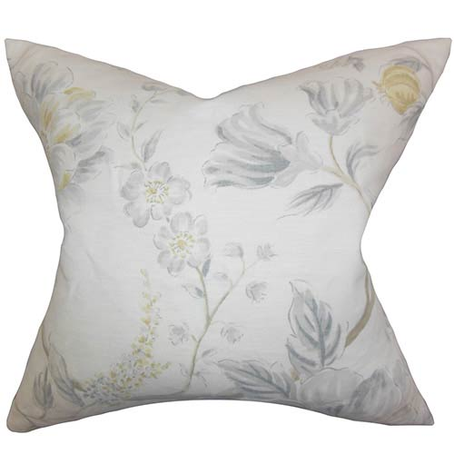 The Pillow Collection Ivria Gray 18 x 18 Floral Throw Pillow