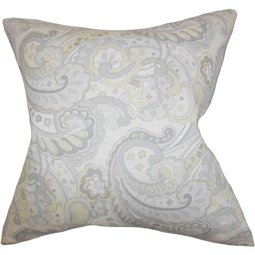 The Pillow Collection Iphigenia Gray 18 x 18 Floral Throw Pillow