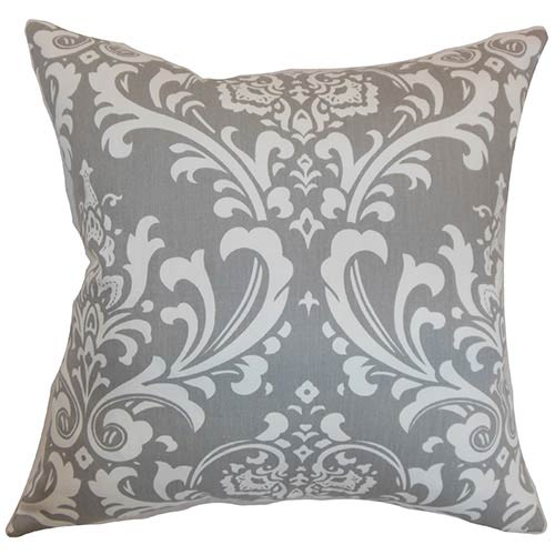 The Pillow Collection Malaga Gray 18 x 18 Patterned Throw Pillow