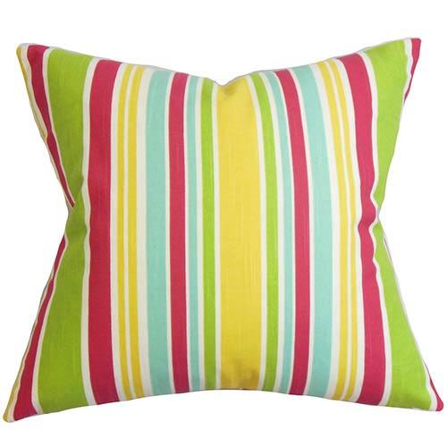 The Pillow Collection Kirsi Pink 18 x 18 Stripes Throw Pillow