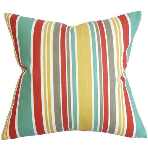 The Pillow Collection Kirsi Red 18 x 18 Stripes Throw Pillow