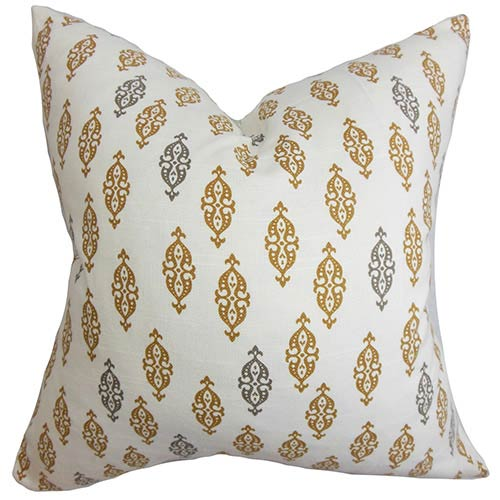 The Pillow Collection Ziven Brown 18 x 18 Geometric Throw Pillow