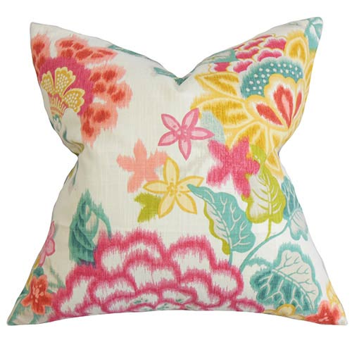 The Pillow Collection Lindsay Pink 18 x 18 Floral Throw Pillow
