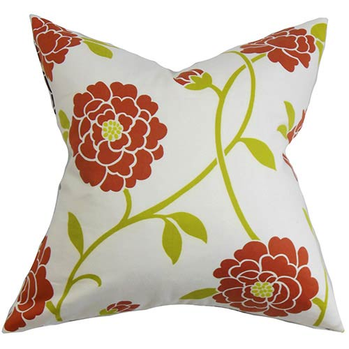 The Pillow Collection Graziela Red 18 x 18 Floral Throw Pillow