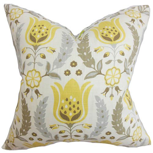 The Pillow Collection Eithne Brown 18 x 18 Floral Throw Pillow