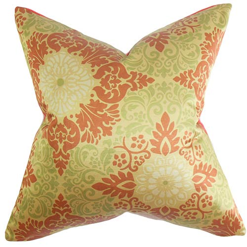 The Pillow Collection Seafarina Red 18 x 18 Floral Throw Pillow