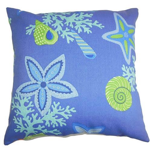 The Pillow Collection Jaleh Blue 18 x 18 Coastal Throw Pillow