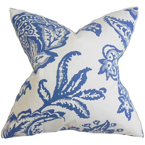 The Pillow Collection Galen Blue 18 x 18 Floral Throw Pillow