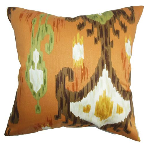 The Pillow Collection Talisha Orange 18 x 18 Patterned Throw Pillow