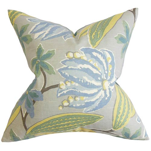The Pillow Collection Averill Blue 18 x 18 Floral Throw Pillow