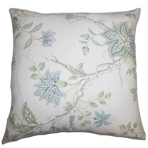 The Pillow Collection Ululani Blue 18 x 18 Floral Throw Pillow