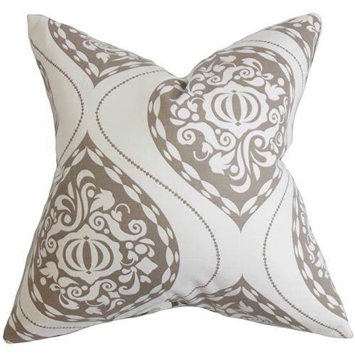 The Pillow Collection Corisande Brown 18 x 18 Floral Throw Pillow