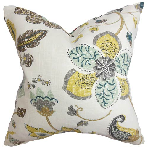 Jora White 18 x 18 Floral Throw Pillow