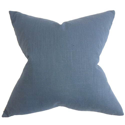 The Pillow Collection Ninian Blue 18 x 18 Solid Throw Pillow