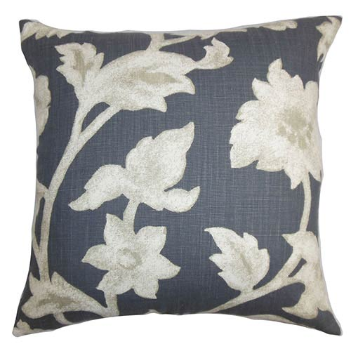 The Pillow Collection Taina Black 18 x 18 Floral Throw Pillow