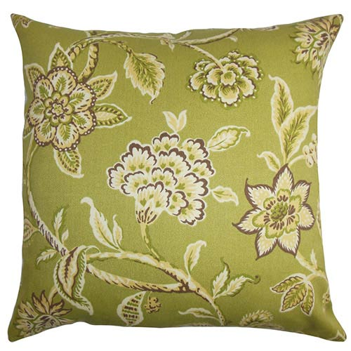 The Pillow Collection Walcott Green and Brown 18 x 18 Floral Throw Pillow