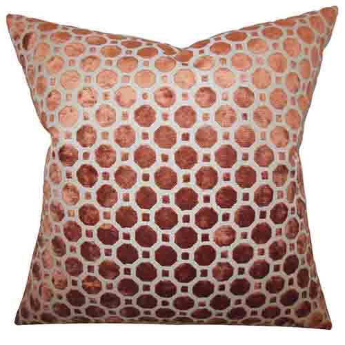 The Pillow Collection Kostya Copper and Orange 18 x 18 Geometric Throw Pillow