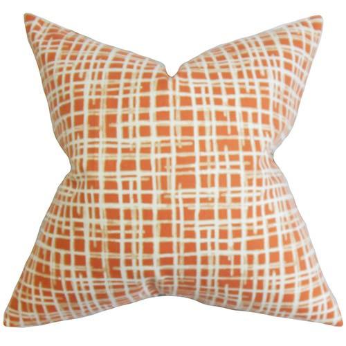 The Pillow Collection Onslow Orange 18 x 18 Plaid Throw Pillow