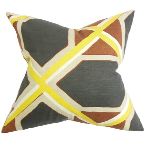 The Pillow Collection Otthild Yellow 18 x 18 Geometric Throw Pillow