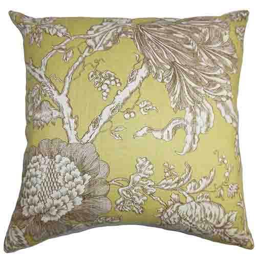 The Pillow Collection Panthea Yellow 18 x 18 Floral Throw Pillow