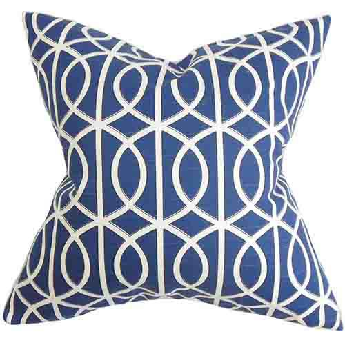 The Pillow Collection Lior Blue 18 x 18 Geometric Throw Pillow