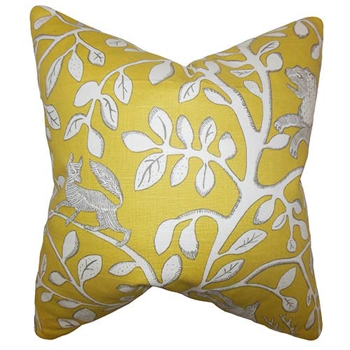 The Pillow Collection Honorine Yellow 18 x 18 Floral Throw Pillow