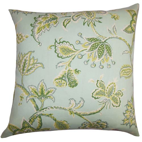 The Pillow Collection Walcott Green and Blue 18 x 18 Floral Throw Pillow