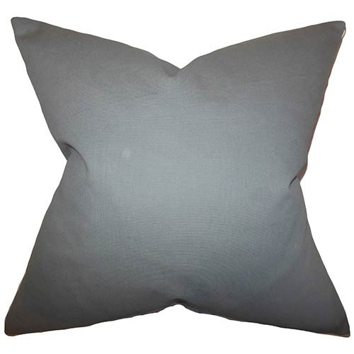 The Pillow Collection Kalindi Gray 18 x 18 Solid Throw Pillow