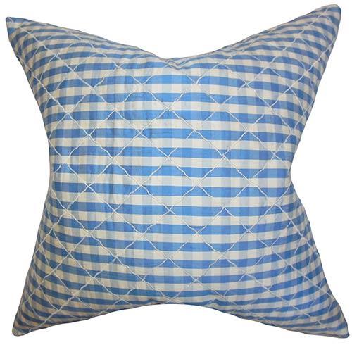 The Pillow Collection Addisyn Blue 18 x 18 Plaid Throw Pillow