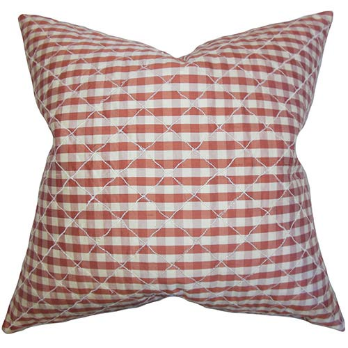 The Pillow Collection Addisyn Red 18 x 18 Plaid Throw Pillow