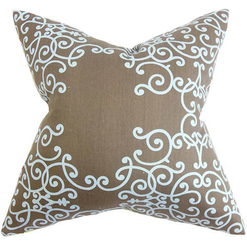 The Pillow Collection Fianna Aqua and Brown 18 x 18 Floral Throw Pillow
