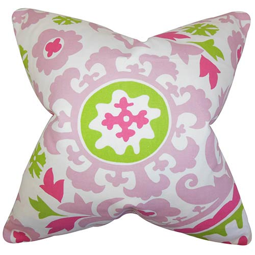 The Pillow Collection Wella Pink 18 x 18 Floral Throw Pillow