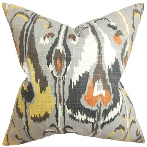 The Pillow Collection Gundrun Gray 18 x 18 Ikat Throw Pillow