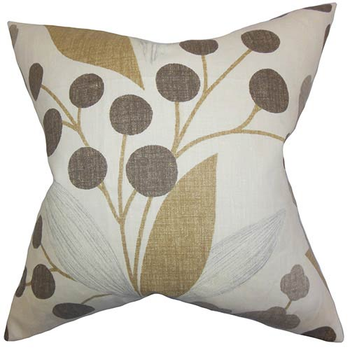 The Pillow Collection Geneen Brown 18 x 18 Floral Throw Pillow