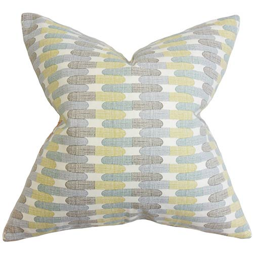 The Pillow Collection Malus Blue 18 x 18 Geometric Throw Pillow