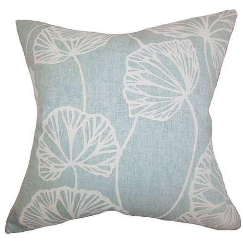 The Pillow Collection Fia Blue 18 x 18 Floral Throw Pillow