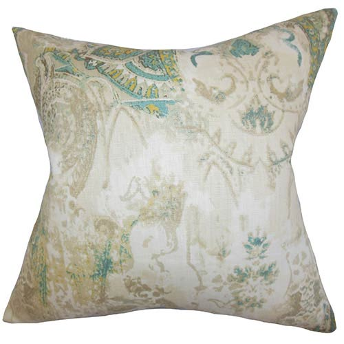 The Pillow Collection Havilah Neutral 18 x 18 Floral Throw Pillow