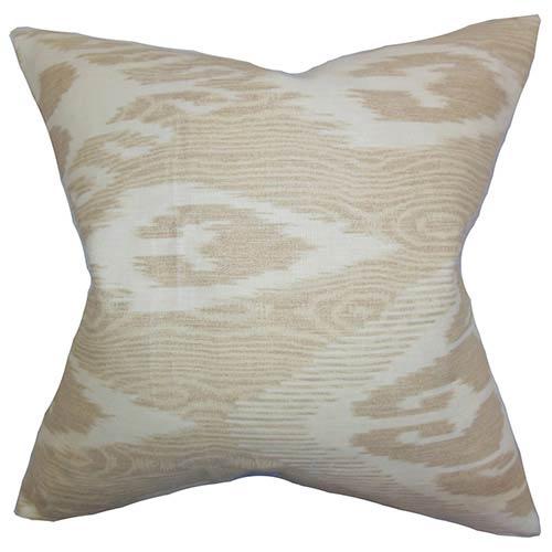 Fernande Neutral 18 x 18 Ikat Throw Pillow
