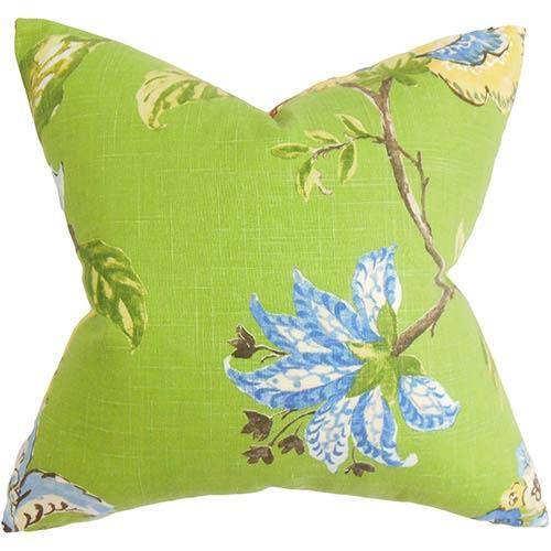 The Pillow Collection Xois Green 18 x 18 Floral Throw Pillow