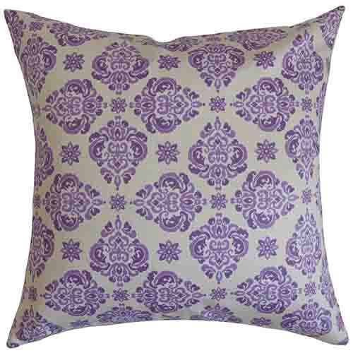 Gershom Purple 18 x 18 Floral Throw Pillow